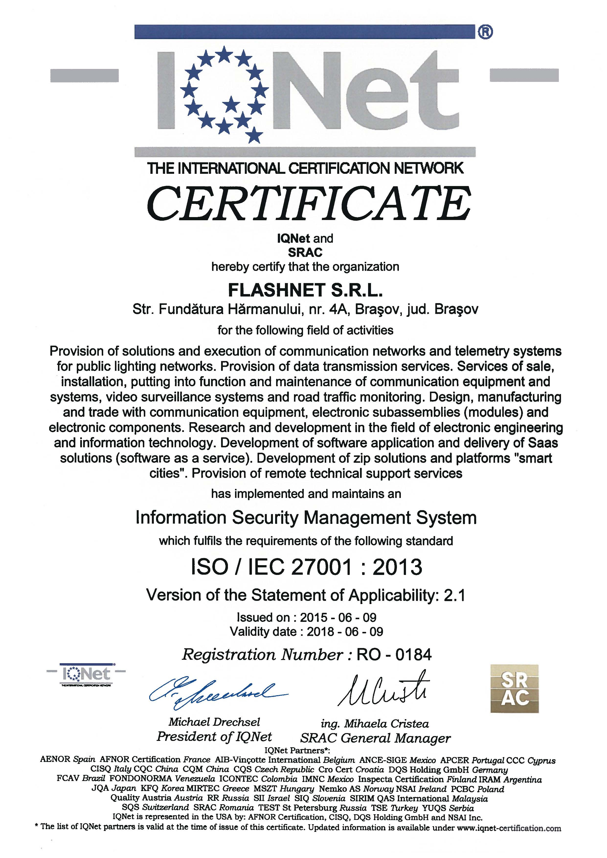 ISO 27001 Information security management system certificate