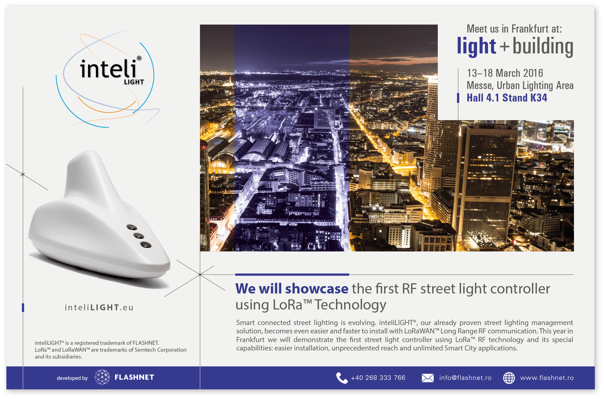 inteliLIGHT smart street lighting control @ Frankfurt lighting fair 2016